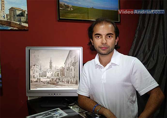 Nick Ferrara (VideoAndria.com) con la versione digitalizzata del dipinto