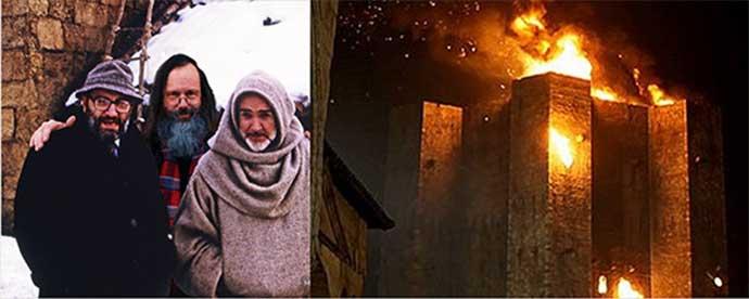 In alto a sinistra: Umberto Eco con Sean Connery sul set del film del 1986, a sinistra un fotogramma della pellicola con la biblioteca in fiamme, chiaramente ispirata a Castel del Monte.