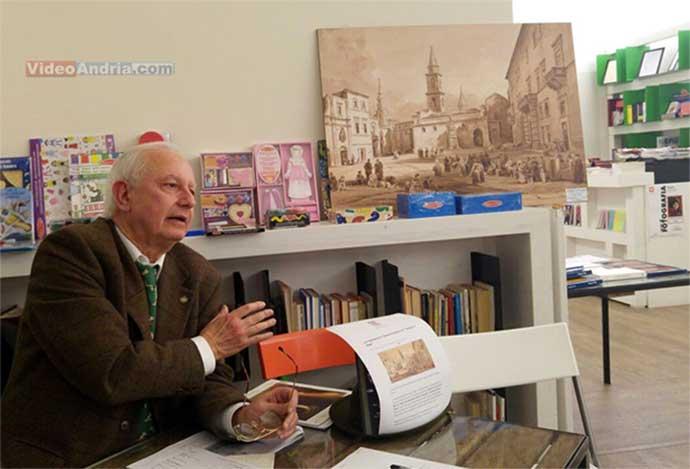 il-prof-Giuseppe-Brescia-con-il-quadro-su-Andria-di-Achille-Vianelli-datato-1851