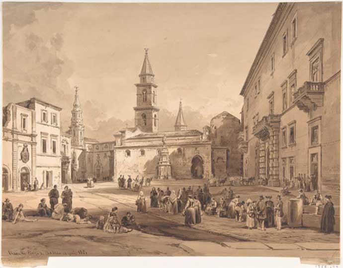 La bellissima Piazza La Corte di Andria in un quadro del 1851: all'epoca di fatto ben predisposta ai pedoni.
