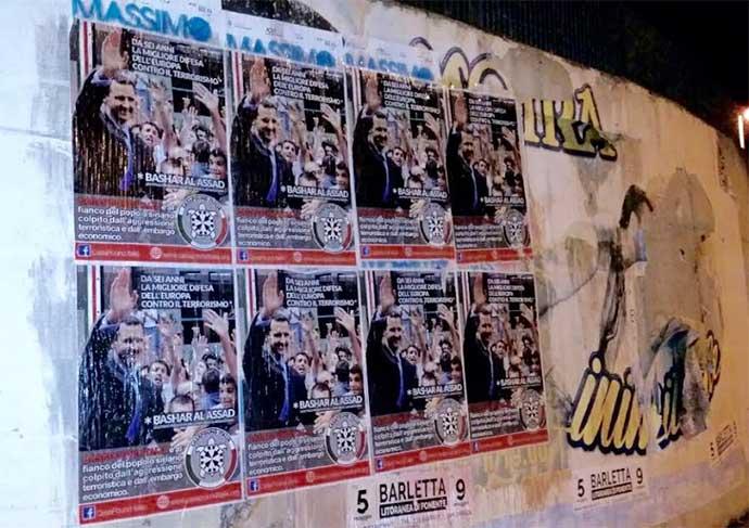 """Blitz di Casapound ad Andria con manifesti pro Assad — """"ha scacciato l'Isis e mistificazioni occidentali"""""""