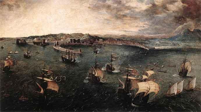 """Pieter Brueghel il Vecchio, """"Battaglia nel Golfo di Napoli"""""""