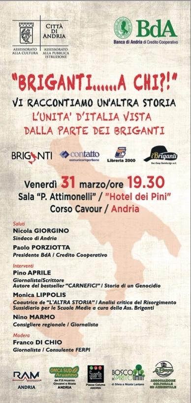 Lo scrittore Pino Aprile ad Andria. Incontro venerdì 31 marzo sul tema: l'unità d' Italia vista dalla parte dei Briganti