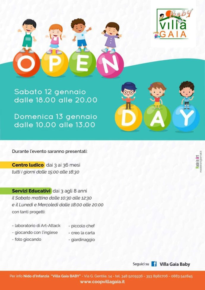 "Andria  Open Day a ""Villa Gaia Baby"" sabato 12 e domenica 13 gennaio 902c7d6d1dc0"