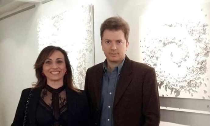 Ricarda Guantario e il critico Daniele Radini Tedeschi (1)
